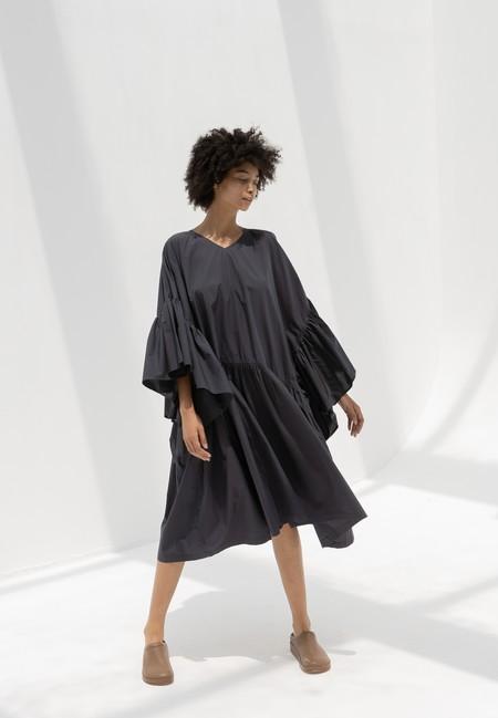 Black Crane Rose Dress - Faded Black