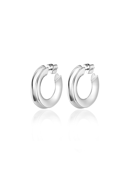 Jenny Bird Hidden Heart Medium Hoops - Silver