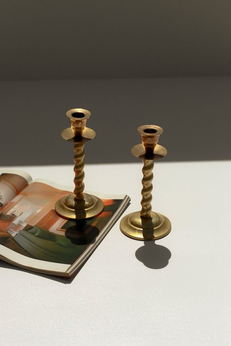 Pre-loved Spiraled Candlestick Pair HOLDERS - BRASS