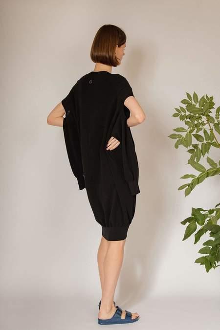 Oyuna Vaal Knitted Triple Neck Dress - Jet Black