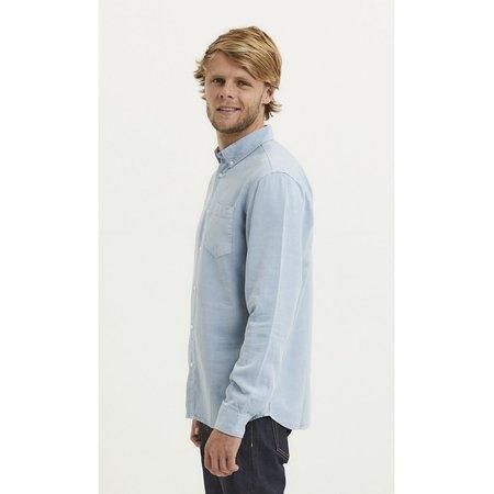 Larch Tencel garment dyed button down LS shirt - BLUE