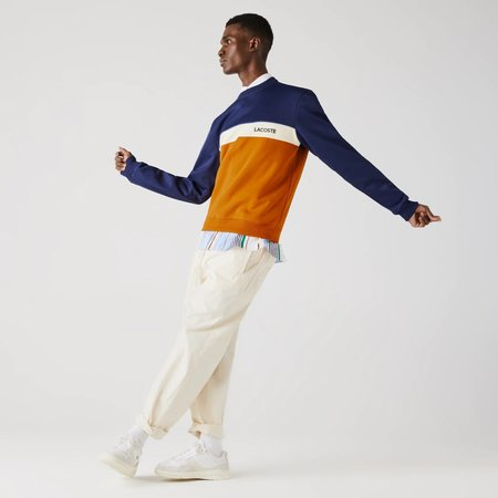 LACOSTE Crew Neck Lettering Colourblock Piqué Sweatshirt - Orange/cream/blue