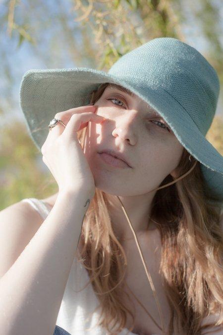 tsuyumi Jute Wide Brim Hat - Light Teal