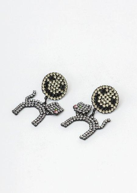 Ashley Williams Smiley Cat Earring - BRASS/CZECH CRYSTAL