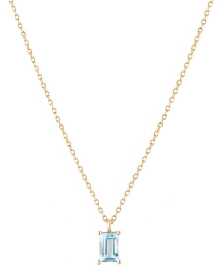 Trois Petits Points Aquamarine Baguette Necklace - 18kt Gold