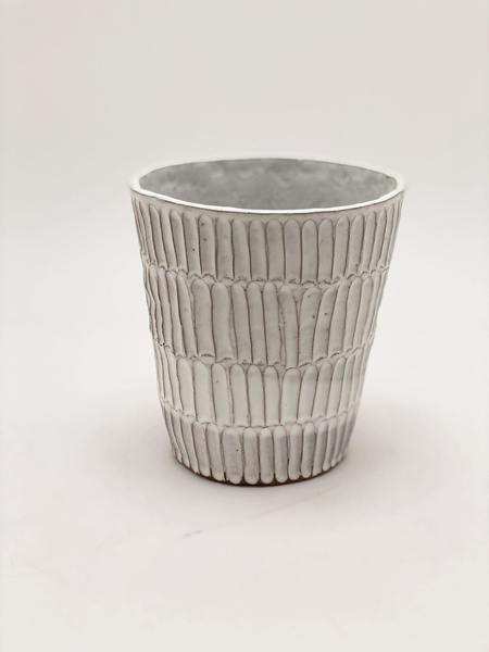 A.Cheng Carved Cone Planters - Chalk White