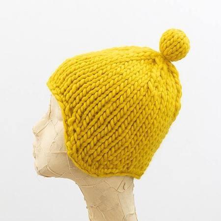 tsuyumi Highland Wool Helmet Beanie - YELLOW