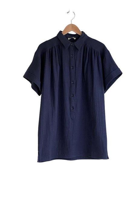 Sessun Lime Road Cotton Button Up Tunic - Encre