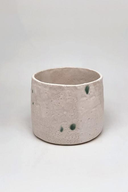 A.Cheng Medium Planter - White/green dots