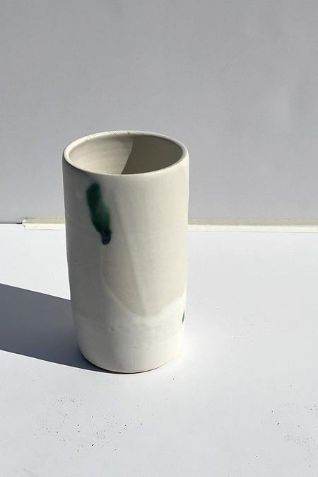 A.Cheng Stoneware Vase - White/Green Dots