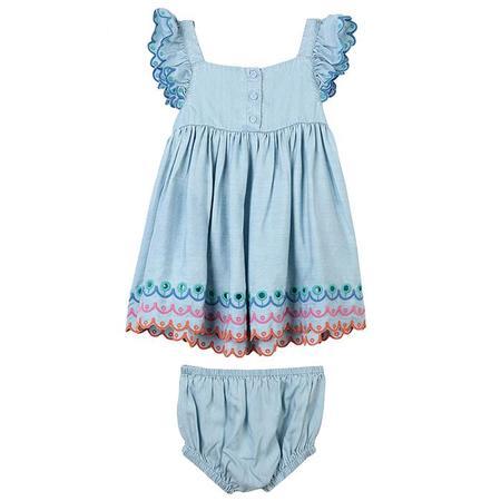 kids Stella McCartney Baby Matching Bloomers Denim Dress - Blue