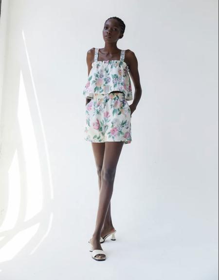 Tach Clothing Nilda Linen Short - Ivory/Pink