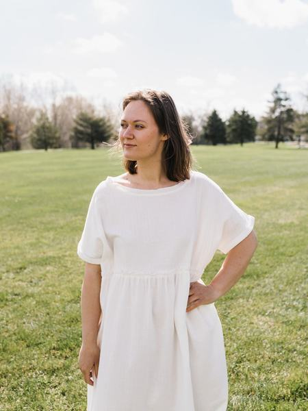 Grade + Gather Babydoll Hem Dress - White