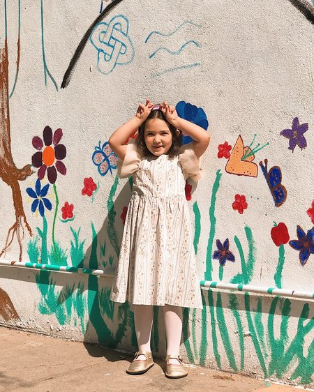 Kids Petit Mioche Organic Leaf Dress with Short Sleeves