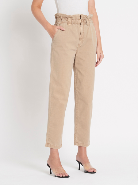 Mother Denim The Yoto Ruffle Greaser Ankle trousers - Tan