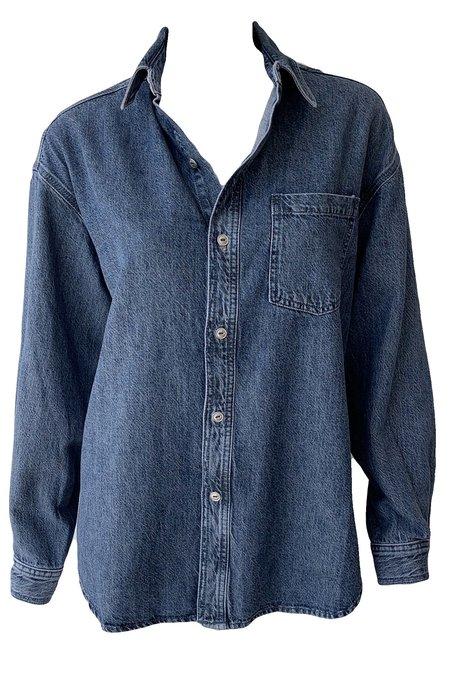 Rag & Bone Oversized Cotton Linen Shirt - Medium Indigo Wash