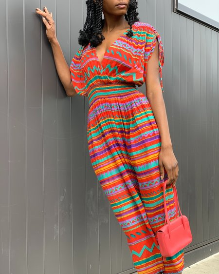 Vintage Geometric Jumpsuit - Multicolor