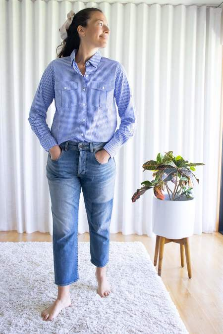Alex Mill Georgie Pocket Shirt - Dark Blue Gingham