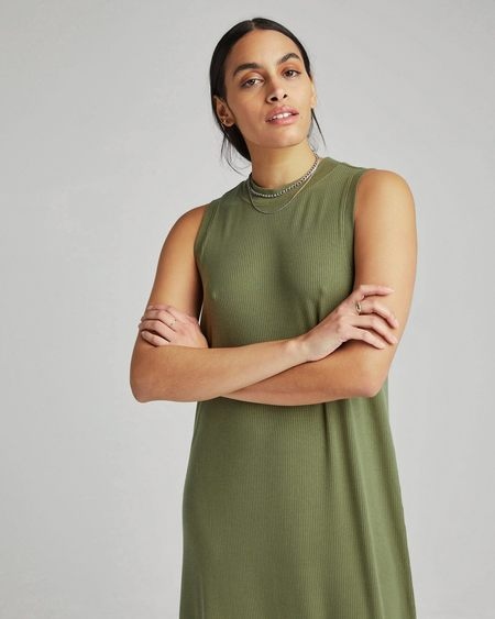 Richer Poorer Vintage Rib Column Dress - Olive