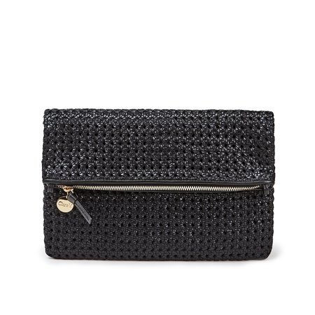 Clare V. Foldover Clutch with Tabs - Black Rattan