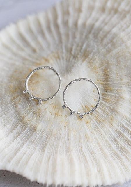 Molly Debiak Three Stone Earrings - Sterling Silver/White Sapphire