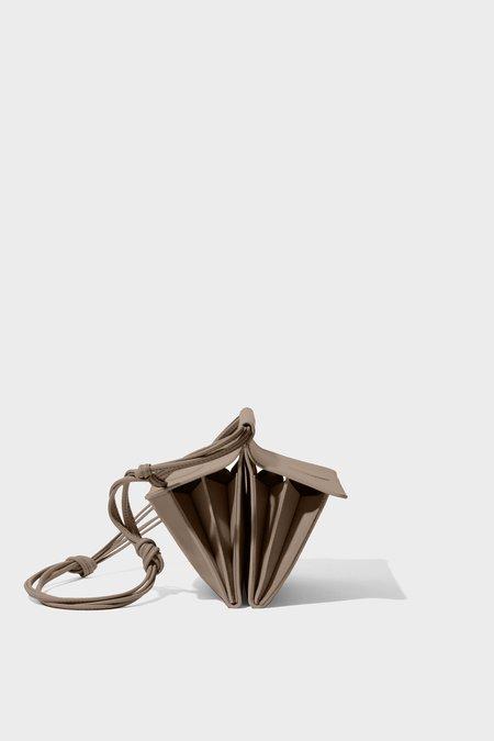 Modern Weaving AccordionPleated Duo Pocket Bag - Mushroom