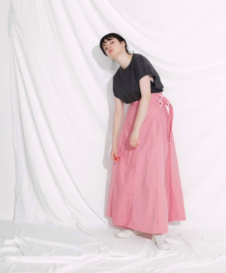 F/CE SWITCHED WRAP LONG SKIRT - PINK