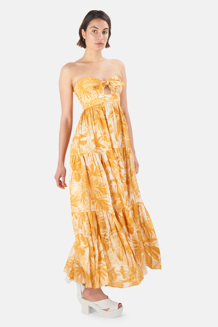 Zimmermann Mae Tie Front Dress - Amber Palm