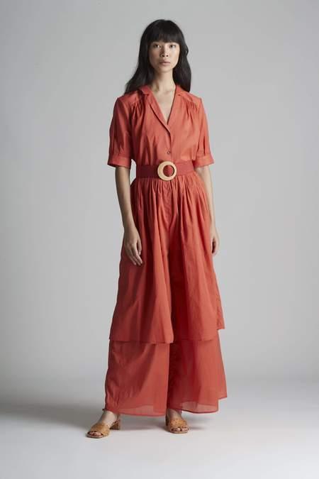 Christine Alcalay Pleated Short Sleeve Cotton Blouse