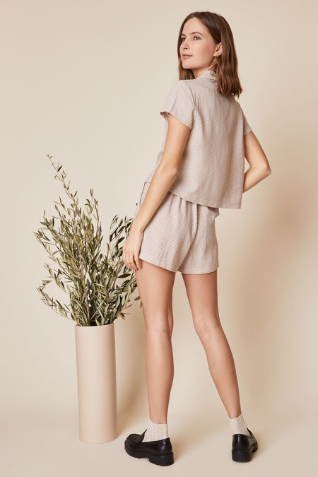 Whimsy + Row Valentina Shorts - Beige Gingham