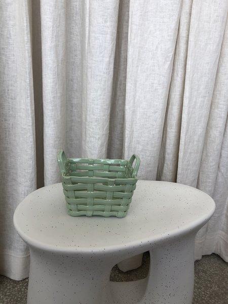 Vintage CERAMIC BASKET - Green