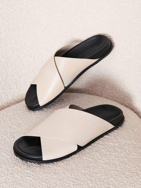 St. Agni Arne Crossover Sandals - Ecru