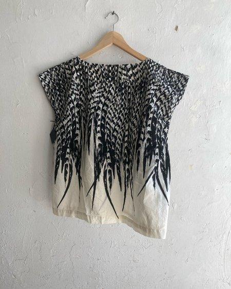 Uzi NYC Feather Tunic - Black/Natural