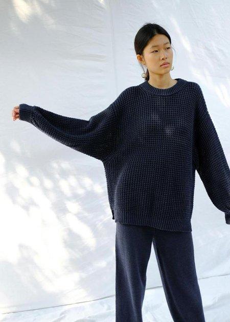 Micaela Greg Waffle Sweater - Navy