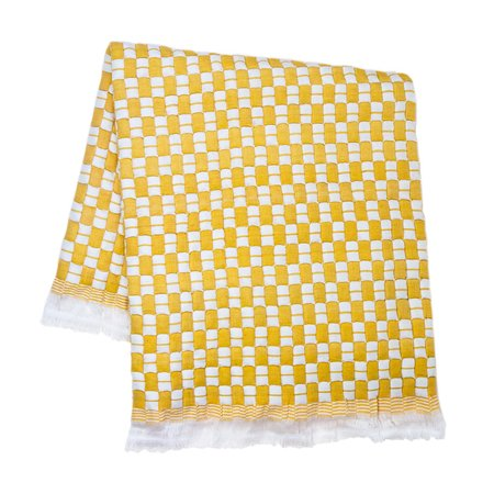 Archive New York Quilted Suzani Throw Blanket - Yellow/White