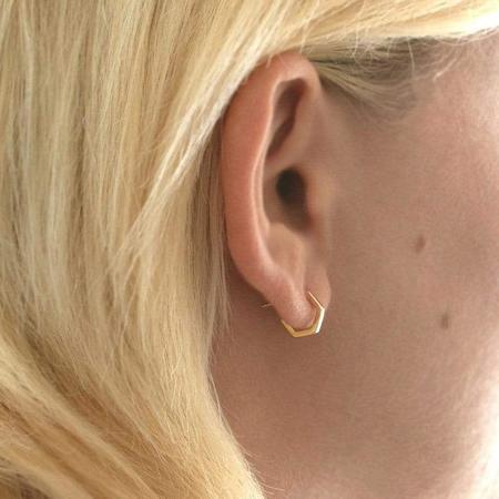 Kris Nations Hexagon Huggie Hoop Earrings - 18k Gold