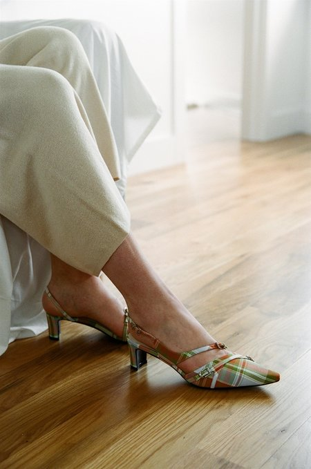 Social Work Twisted Strap Mules - Multicolor Plaid