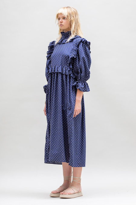 Toit Volant Ruffle Crazed Dress - Navy/White
