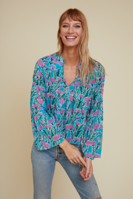 Warm Garden Blouse - Blue/Pink