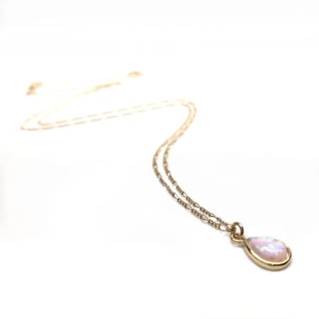 Silver Girl Opal Teardrop Necklace - Gold
