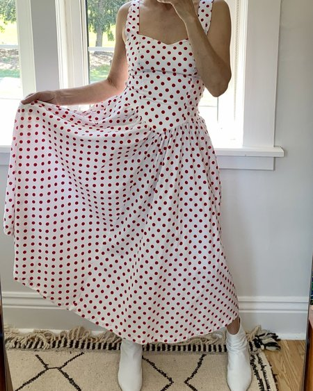 VINTAGE 1970s Cotton Dress - Red Polka Dot