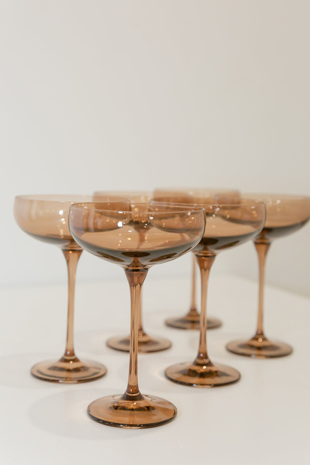 Estelle Colored Glass Champagne Coupe Set of 6 Stemware - Amber Smoke