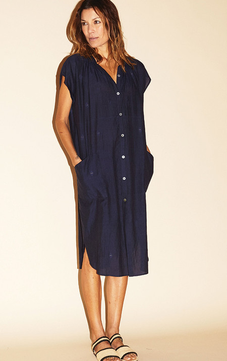 Two New York Deep Blue handwoven pocket khadi dress