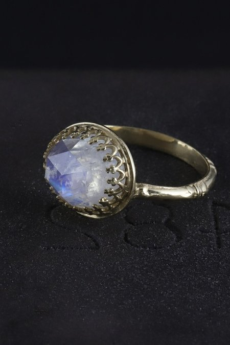Becky Kelso 14K Gold Faceted Moonstone Ring