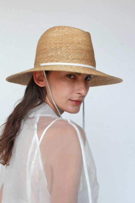 Lola Ehrlich Marseille Bis Straw Hat - White Leather Strap