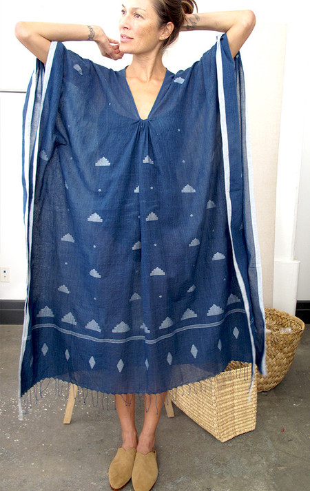 Two New York Indigo caftan with tassel