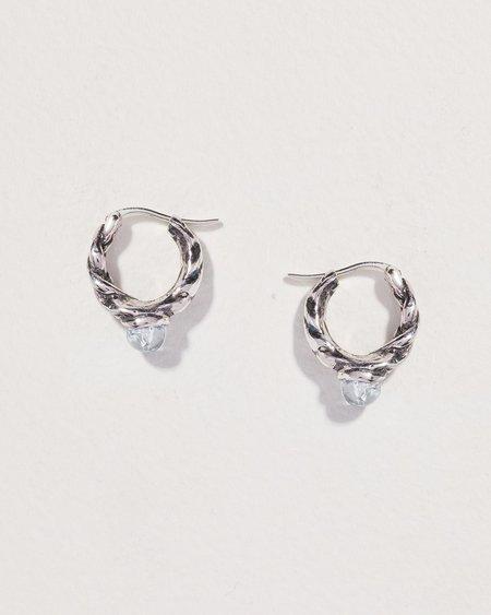Pamela Love Braided Stone Hoop Earrings - sterling silver