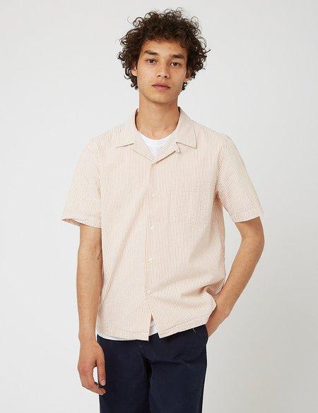 Bhode Cuca Stripe Cuban Collar Short Sleeve Shirt - White