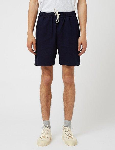 Universal Works Herringbone Denim Beach Shorts  - Navy Blue