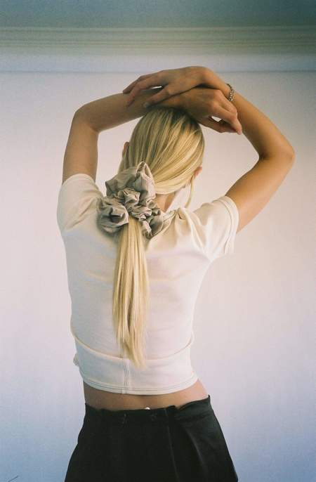 Maryam Nassir Zadeh Antibes Camellia Scrunchie - Cream/Navy Pinstripe